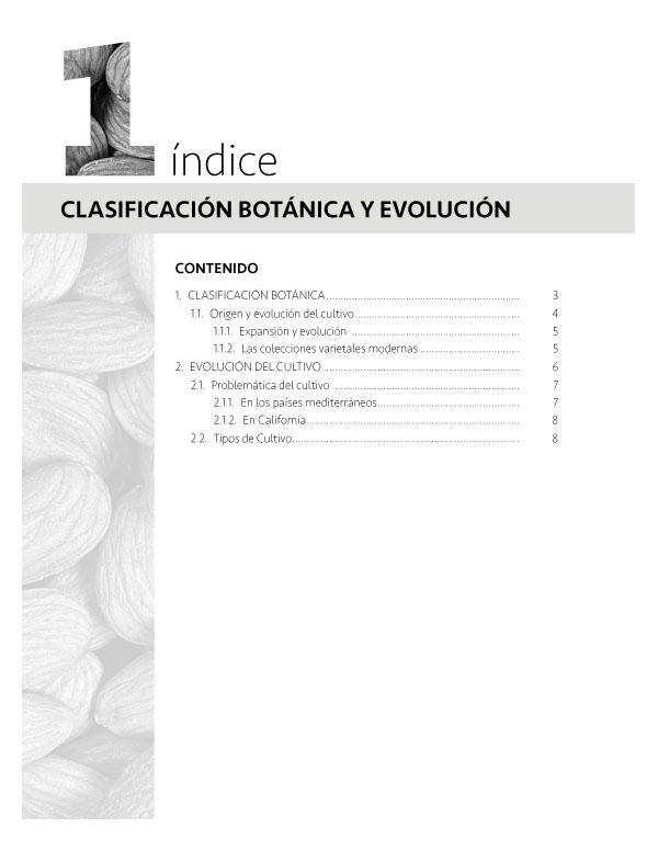 1 Clasificación botánica y evolución del almendro indice